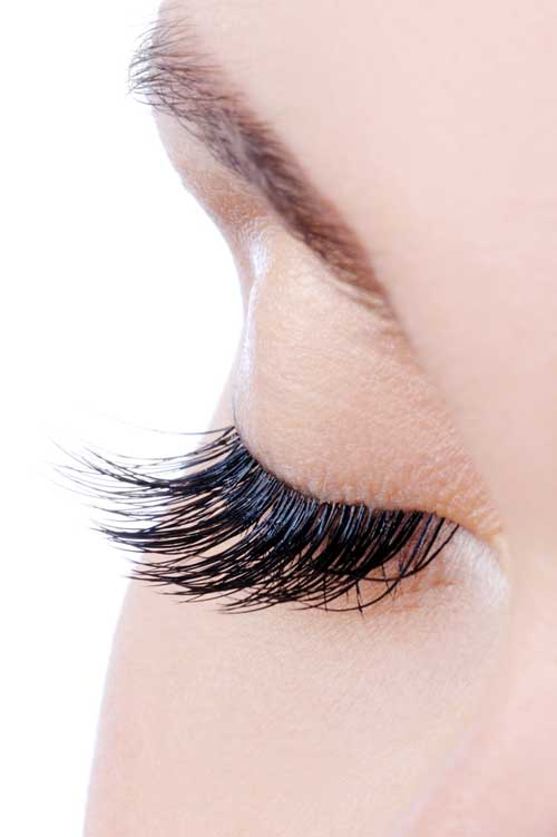 close up view of long eyelashes